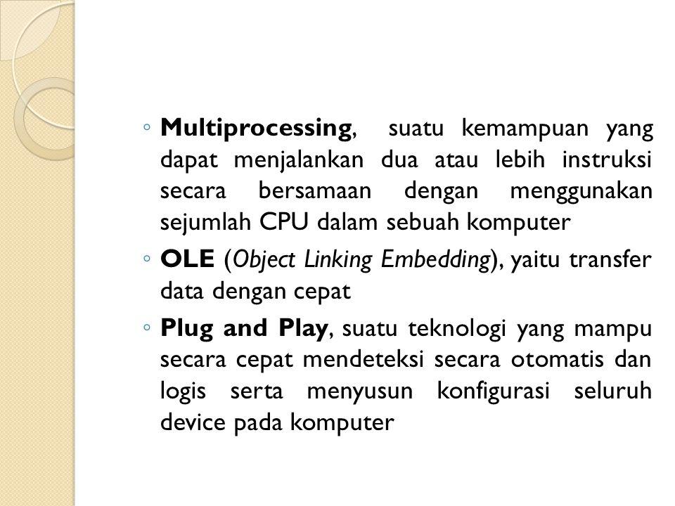 Multiprocessing, suatu kemampuan yang dapat menjalankan dua atau lebih instruksi secara bersamaan dengan menggunakan sejumlah CPU dalam sebuah komputer