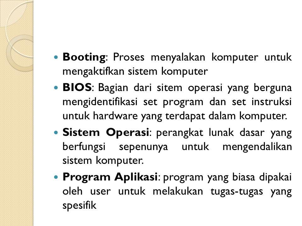 Booting: Proses menyalakan komputer untuk mengaktifkan sistem komputer