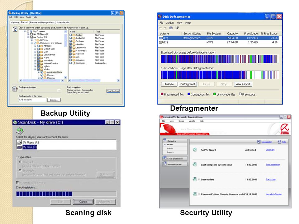Defragmenter Backup Utility Scaning disk Security Utility