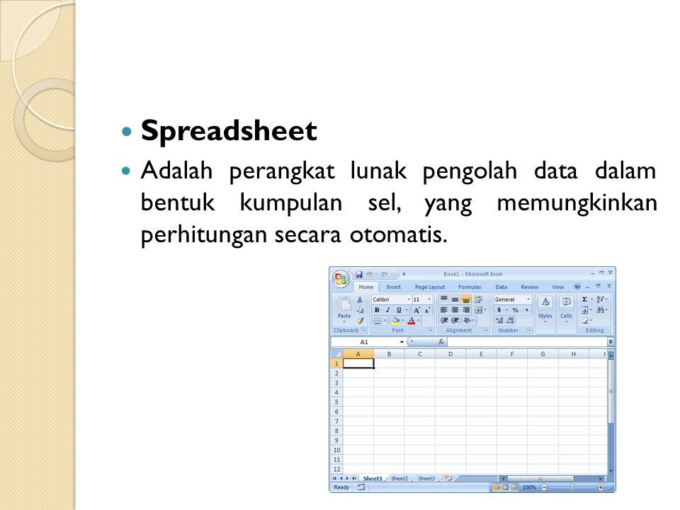 Spreadsheet Adalah perangkat lunak pengolah data dalam bentuk kumpulan sel, yang memungkinkan perhitungan secara otomatis.