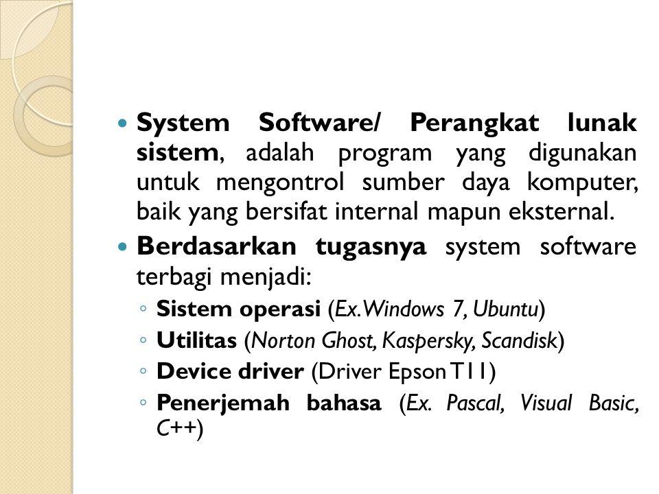 Berdasarkan tugasnya system software terbagi menjadi: