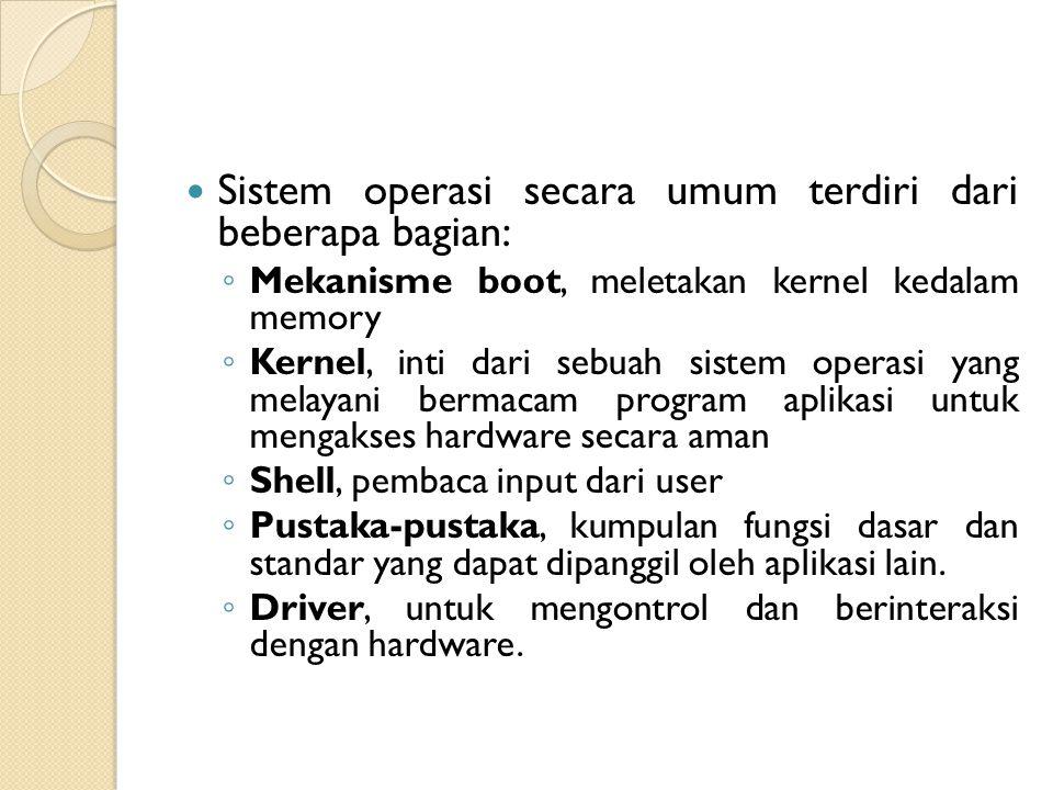 Sistem operasi secara umum terdiri dari beberapa bagian:
