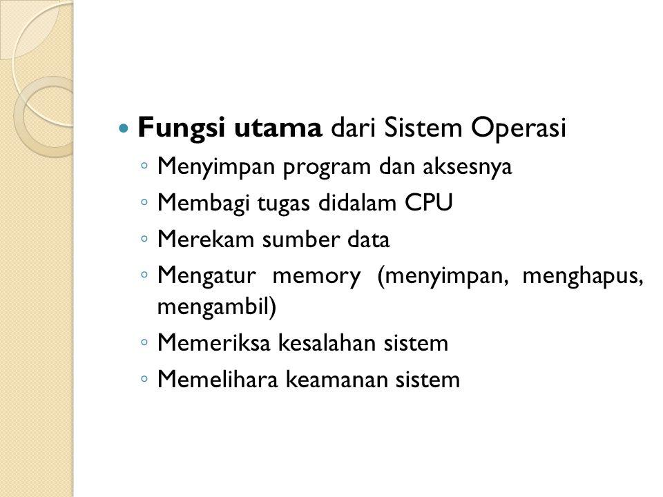 Fungsi utama dari Sistem Operasi