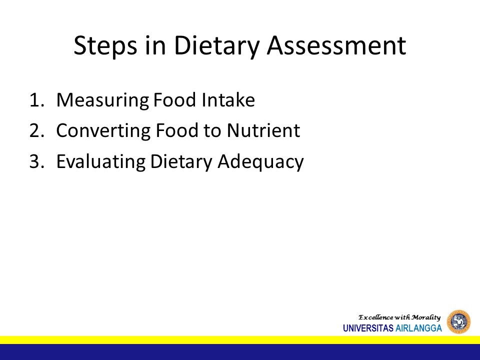 Steps in Dietary Assessment
