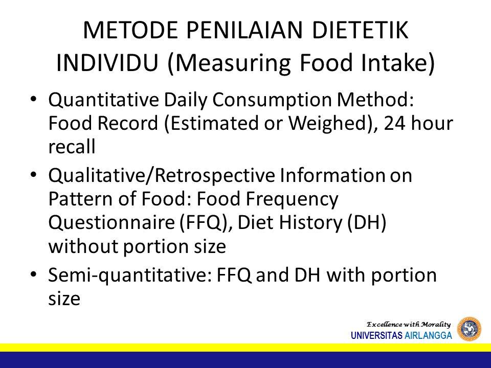 METODE PENILAIAN DIETETIK INDIVIDU (Measuring Food Intake)