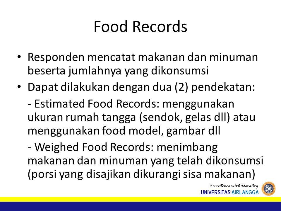 Food Records Responden mencatat makanan dan minuman beserta jumlahnya yang dikonsumsi. Dapat dilakukan dengan dua (2) pendekatan:
