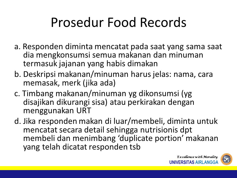 Prosedur Food Records
