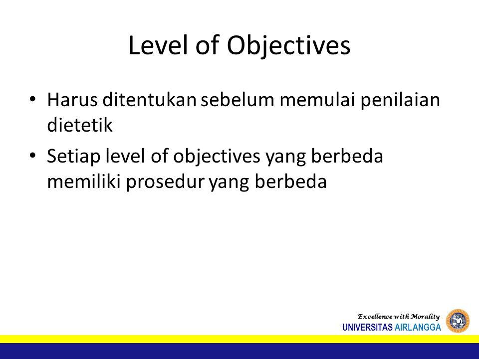 Level of Objectives Harus ditentukan sebelum memulai penilaian dietetik. Setiap level of objectives yang berbeda memiliki prosedur yang berbeda.