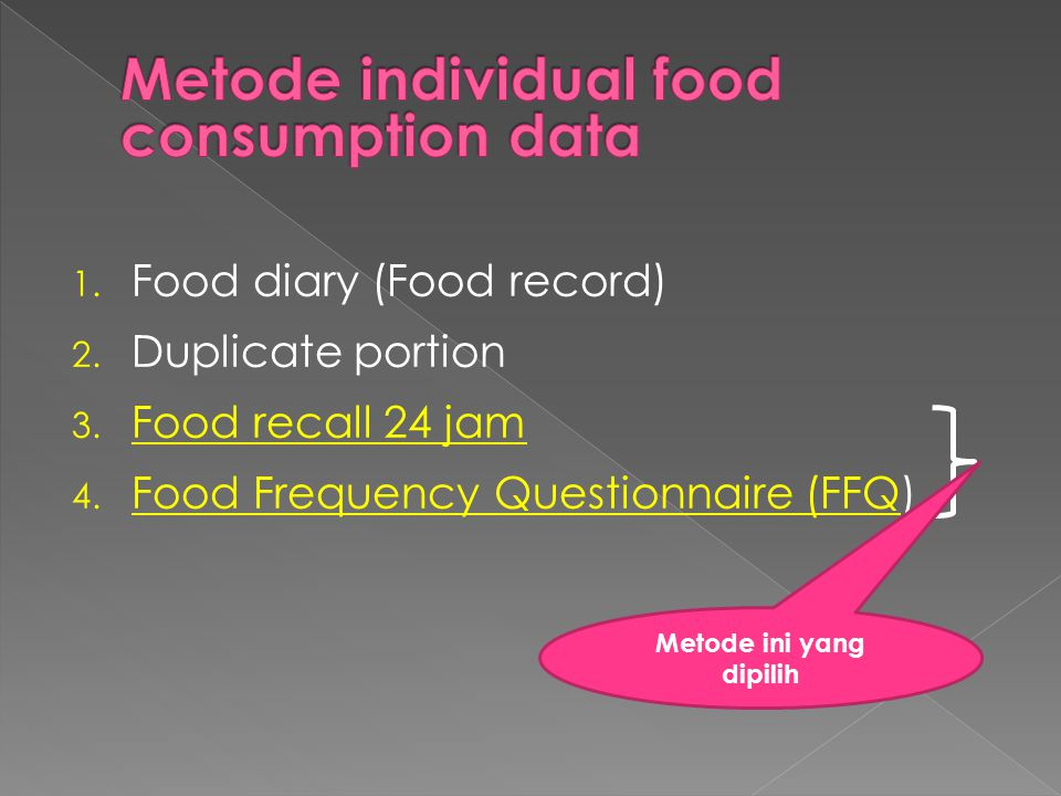 Metode individual food consumption data