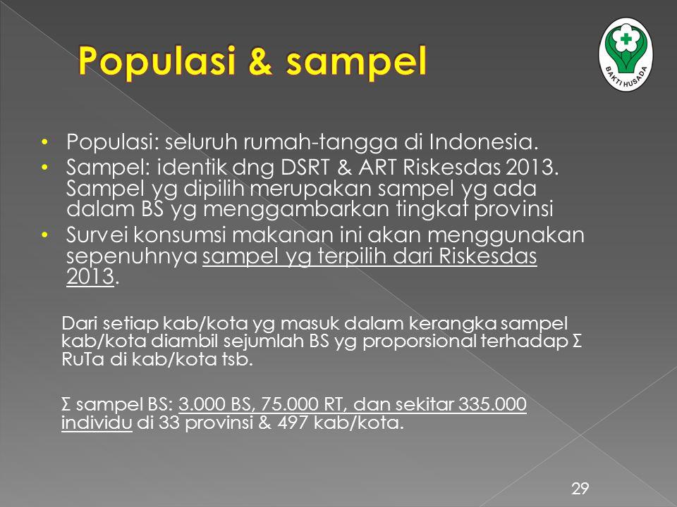 Populasi & sampel Populasi: seluruh rumah-tangga di Indonesia.