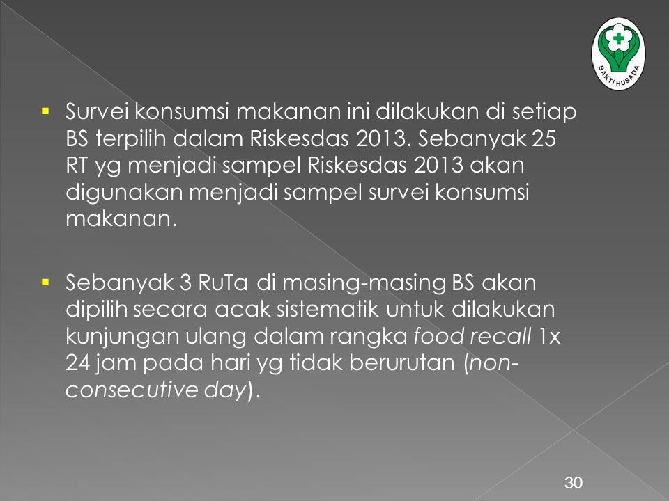 Survei konsumsi makanan ini dilakukan di setiap BS terpilih dalam Riskesdas 2013. Sebanyak 25 RT yg menjadi sampel Riskesdas 2013 akan digunakan menjadi sampel survei konsumsi makanan.