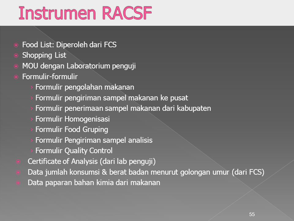 Instrumen RACSF Food List: Diperoleh dari FCS Shopping List