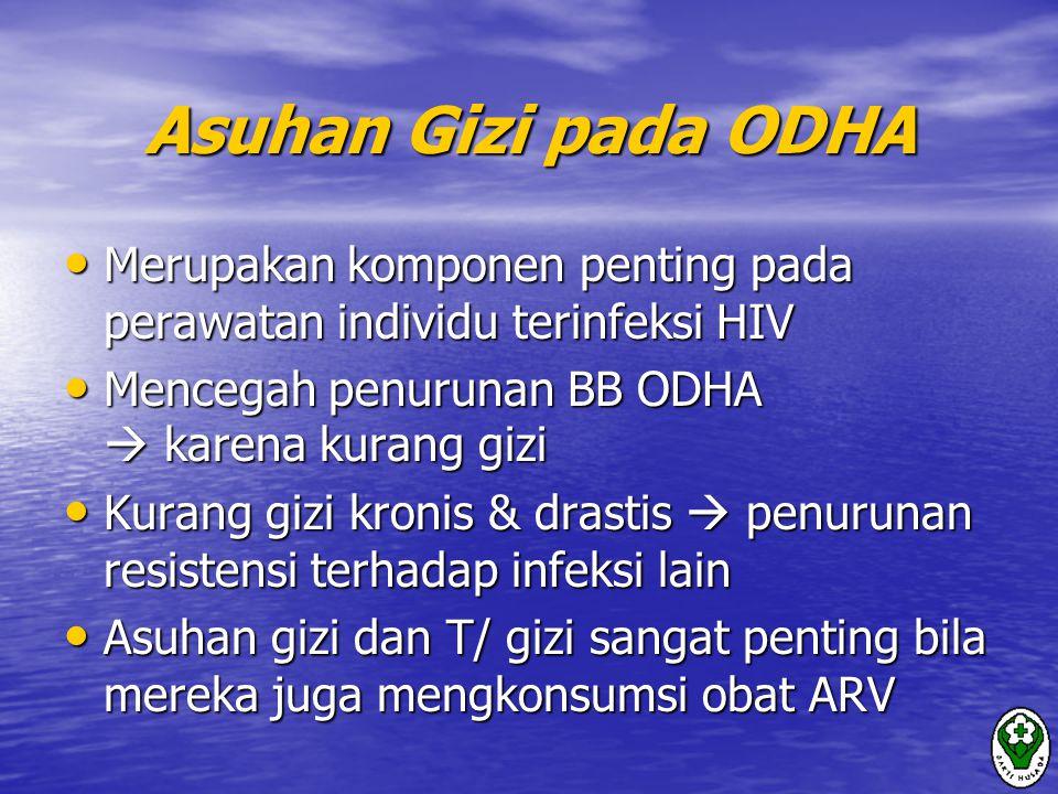 Asuhan Gizi pada ODHA Merupakan komponen penting pada perawatan individu terinfeksi HIV. Mencegah penurunan BB ODHA  karena kurang gizi.