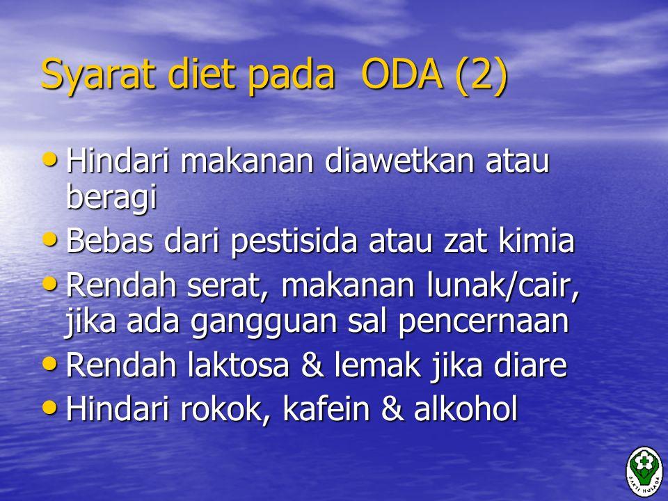 Syarat diet pada ODA (2) Hindari makanan diawetkan atau beragi