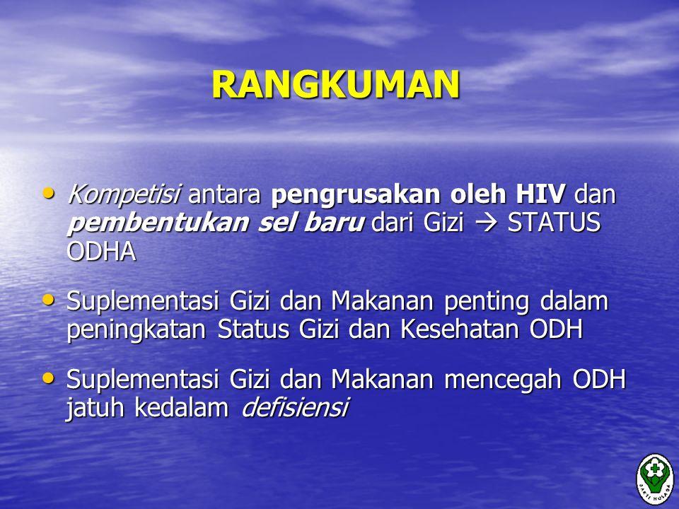 RANGKUMAN Kompetisi antara pengrusakan oleh HIV dan pembentukan sel baru dari Gizi  STATUS ODHA.