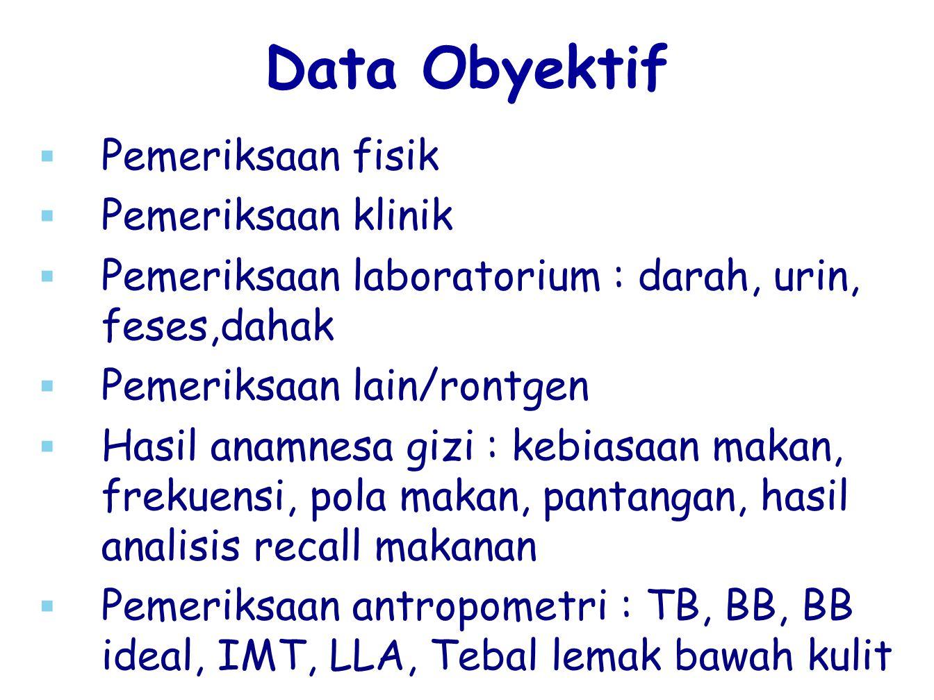 Data Obyektif Pemeriksaan fisik Pemeriksaan klinik