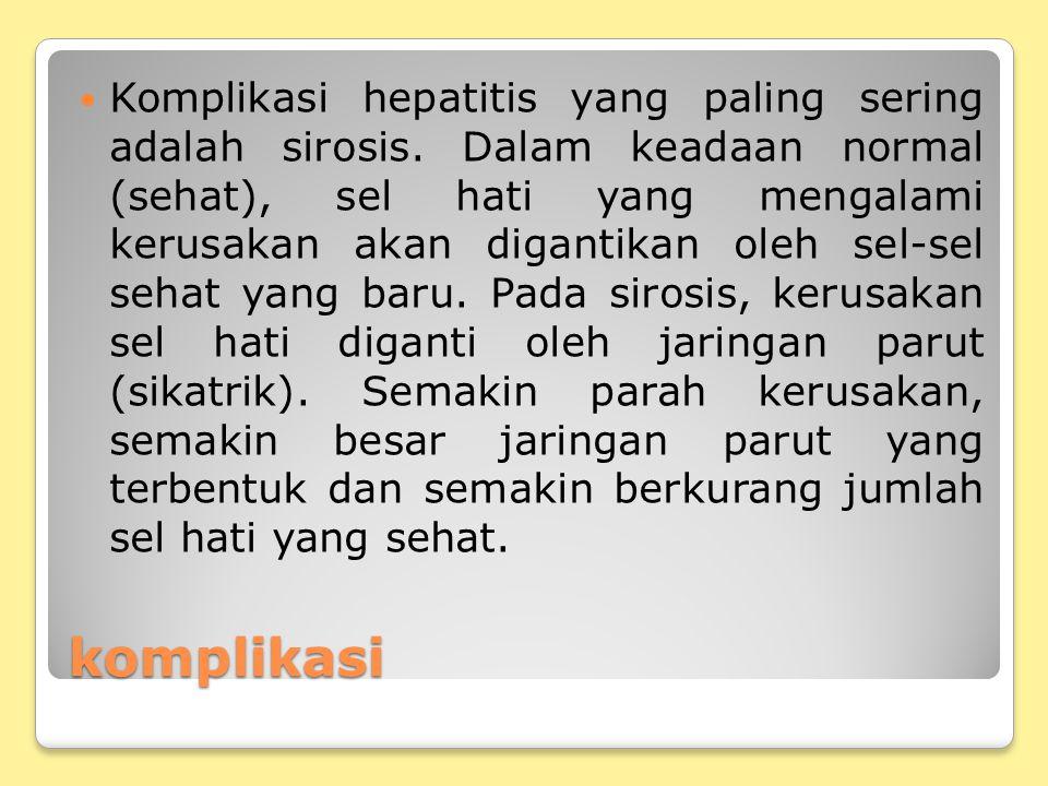 Komplikasi hepatitis yang paling sering adalah sirosis