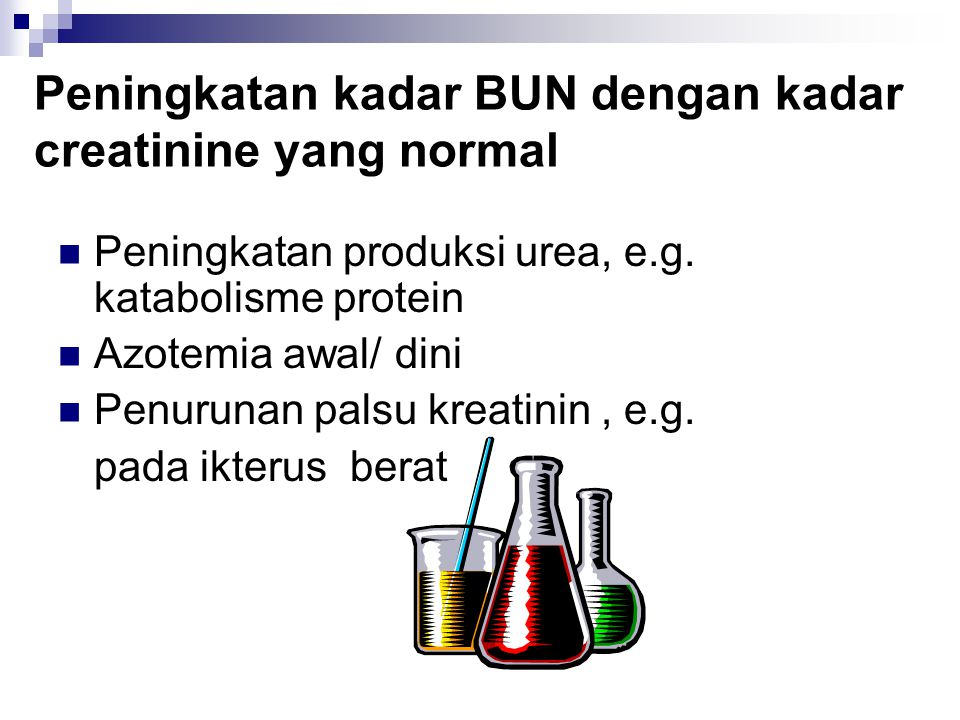 Peningkatan kadar BUN dengan kadar creatinine yang normal