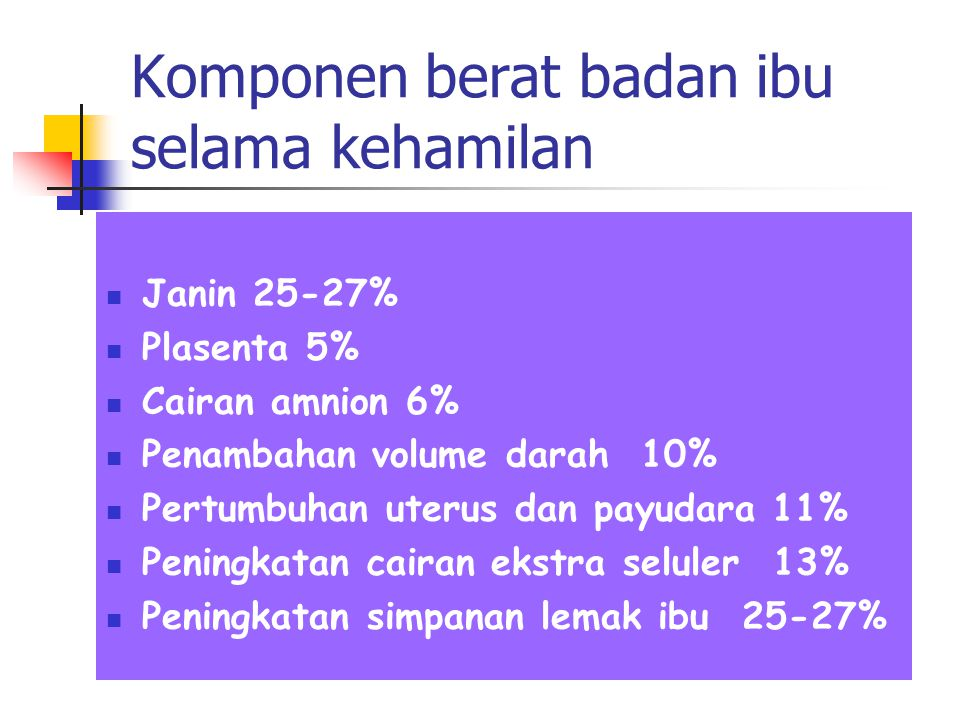 Komponen berat badan ibu selama kehamilan