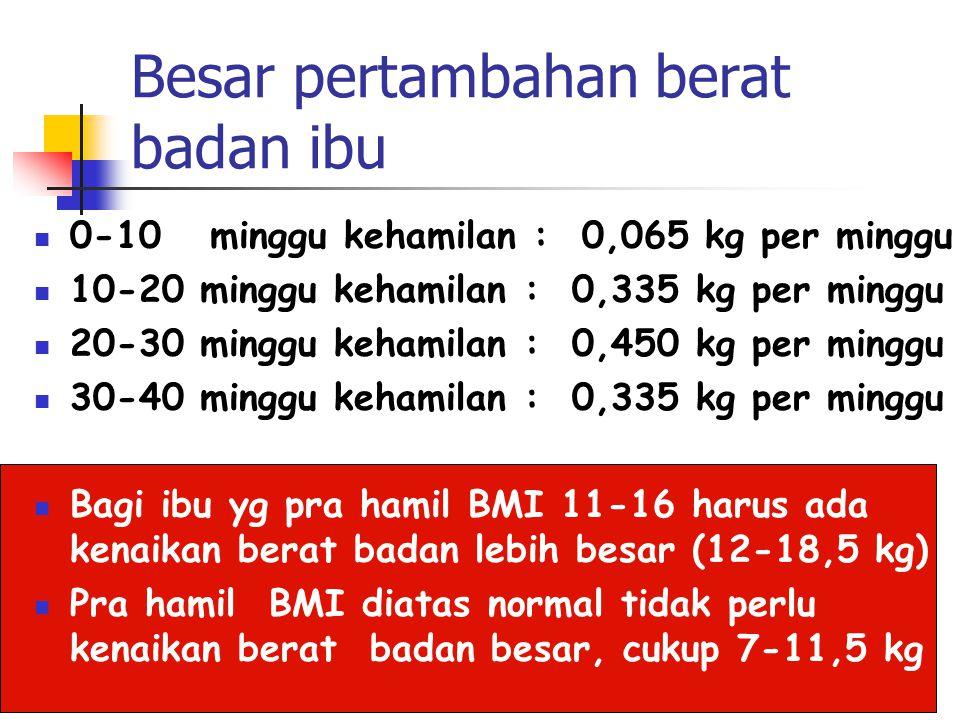 Besar pertambahan berat badan ibu