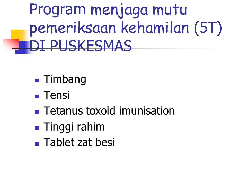 Program menjaga mutu pemeriksaan kehamilan (5T) DI PUSKESMAS