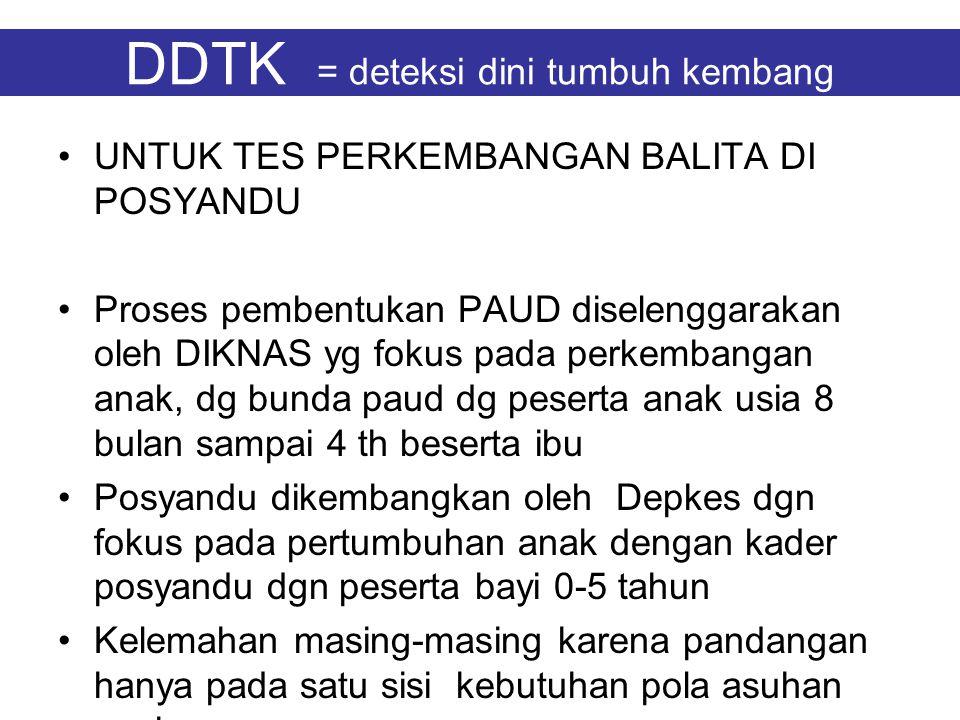 DDTK = deteksi dini tumbuh kembang