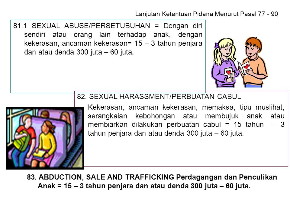 Lanjutan Ketentuan Pidana Menurut Pasal 77 - 90