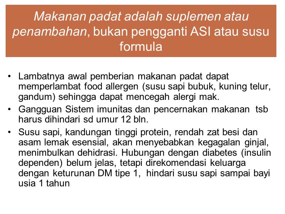 Makanan padat adalah suplemen atau penambahan, bukan pengganti ASI atau susu formula