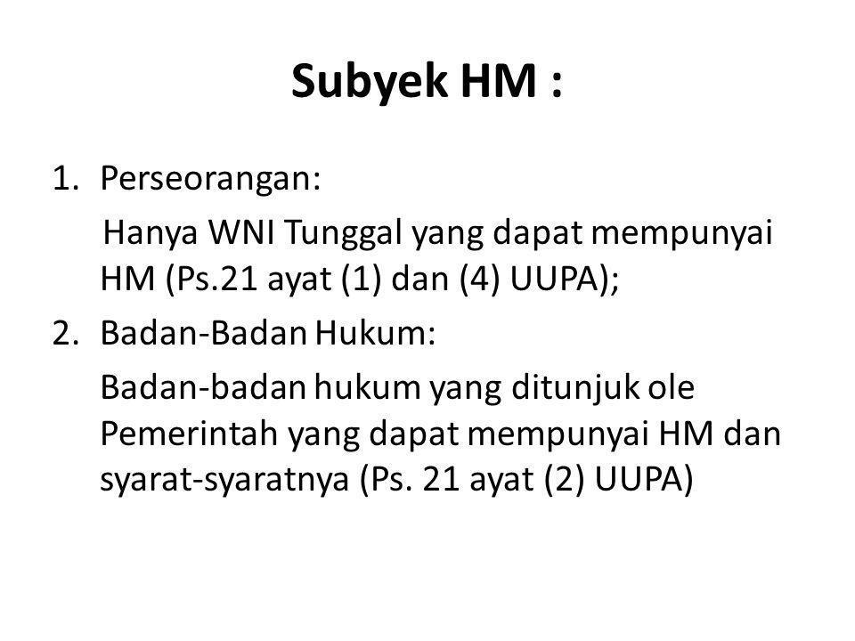 Subyek HM : Perseorangan: