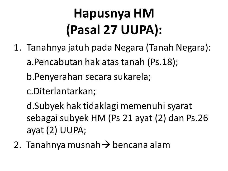 Hapusnya HM (Pasal 27 UUPA):