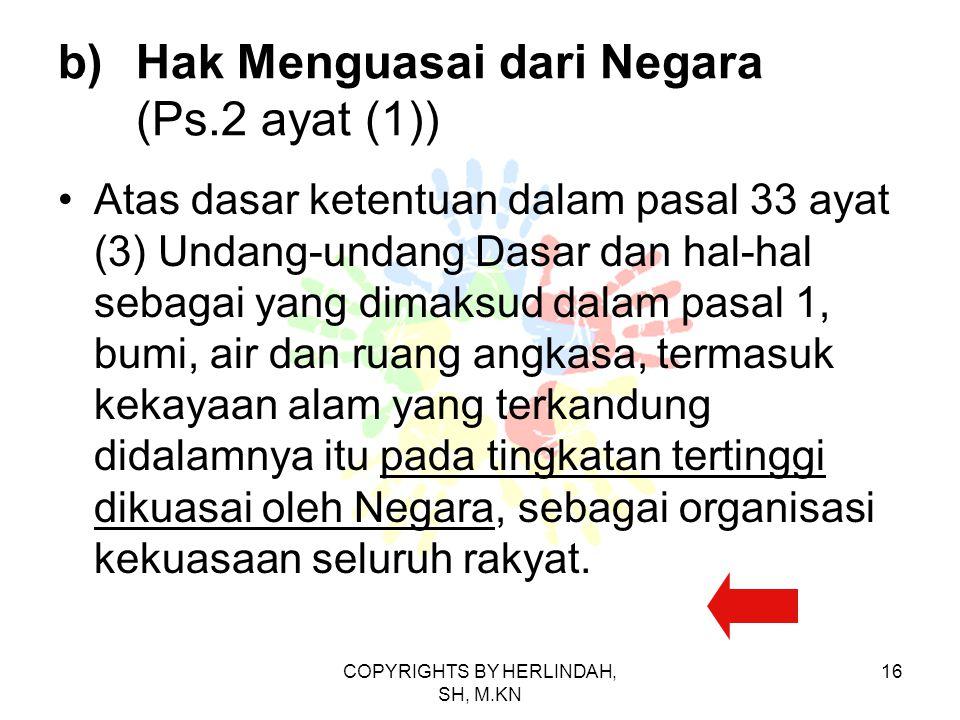 Hak Menguasai dari Negara (Ps.2 ayat (1))