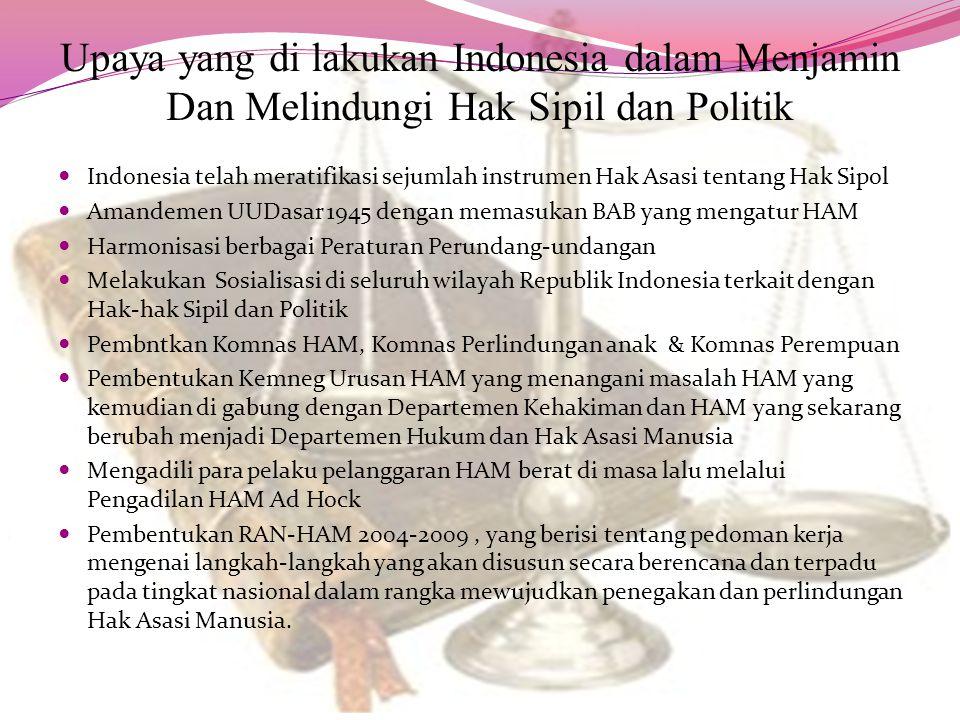 Upaya yang di lakukan Indonesia dalam Menjamin Dan Melindungi Hak Sipil dan Politik