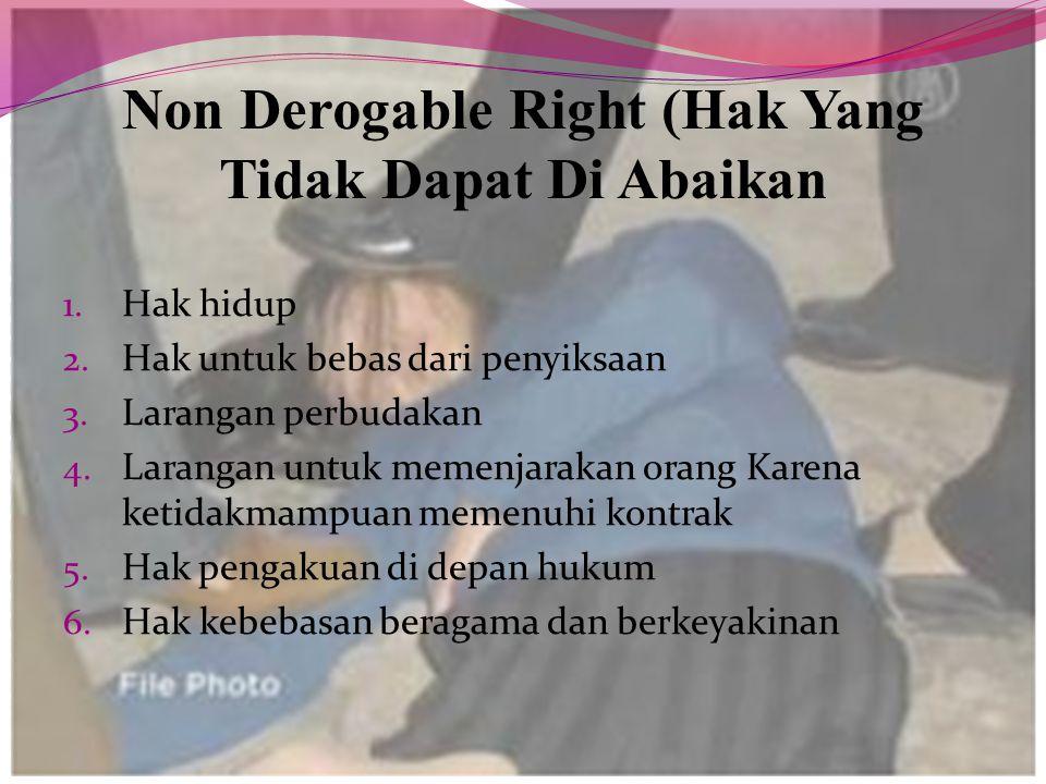 Non Derogable Right (Hak Yang Tidak Dapat Di Abaikan