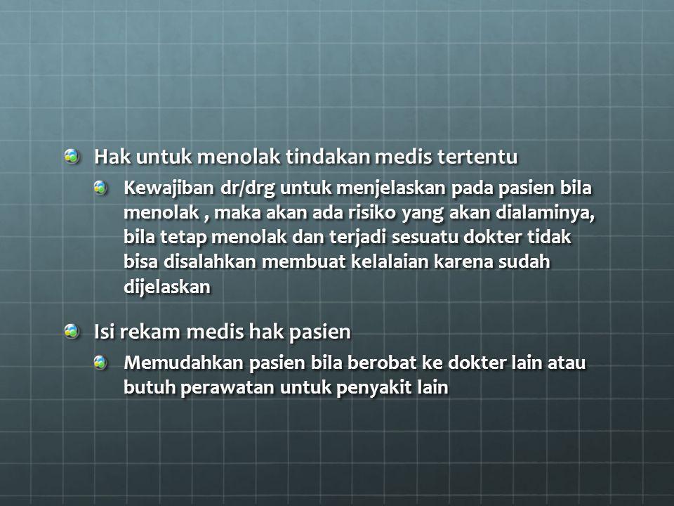 Hak untuk menolak tindakan medis tertentu