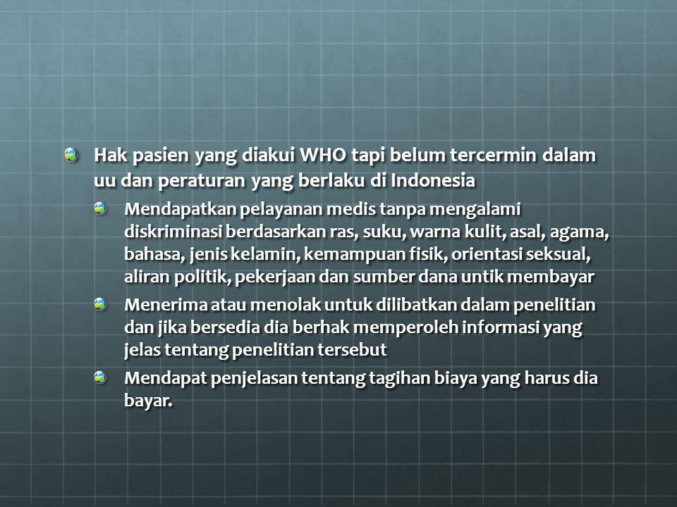 Hak pasien yang diakui WHO tapi belum tercermin dalam uu dan peraturan yang berlaku di Indonesia