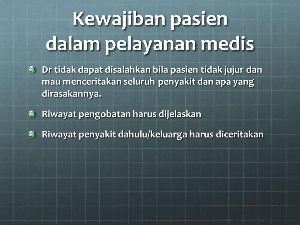 Kewajiban pasien dalam pelayanan medis