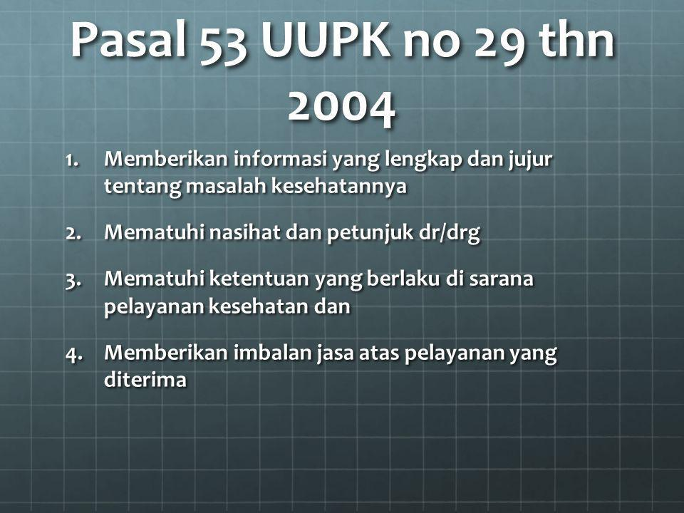Pasal 53 UUPK no 29 thn 2004 Memberikan informasi yang lengkap dan jujur tentang masalah kesehatannya.