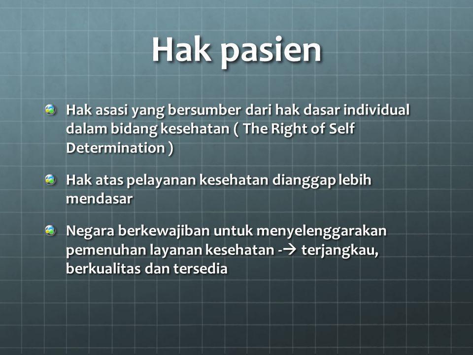 Hak pasien Hak asasi yang bersumber dari hak dasar individual dalam bidang kesehatan ( The Right of Self Determination )
