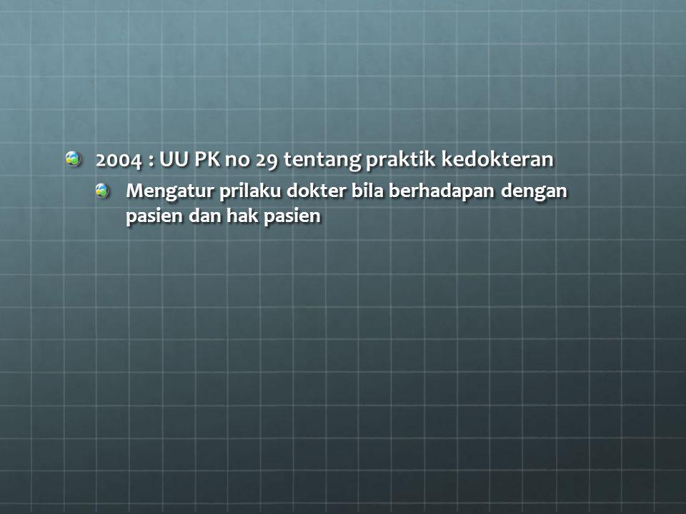 2004 : UU PK no 29 tentang praktik kedokteran
