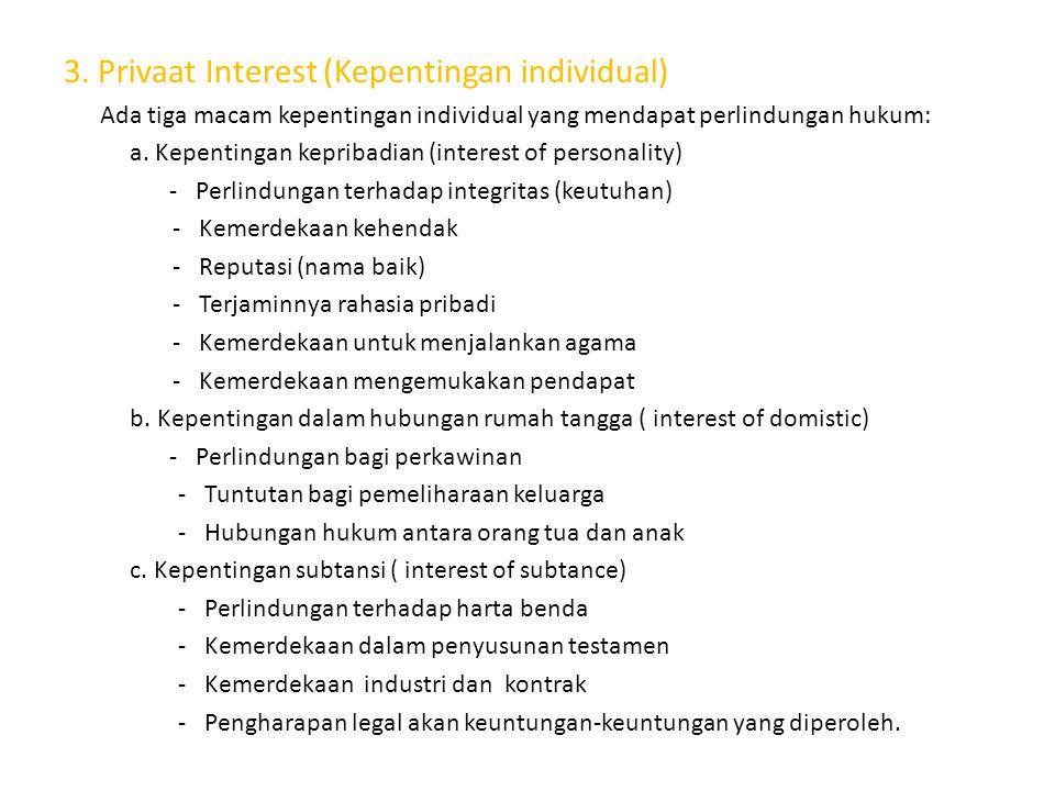 3. Privaat Interest (Kepentingan individual)