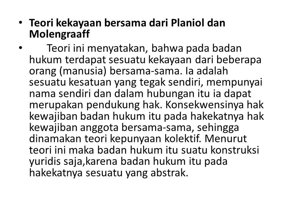 Teori kekayaan bersama dari Planiol dan Molengraaff