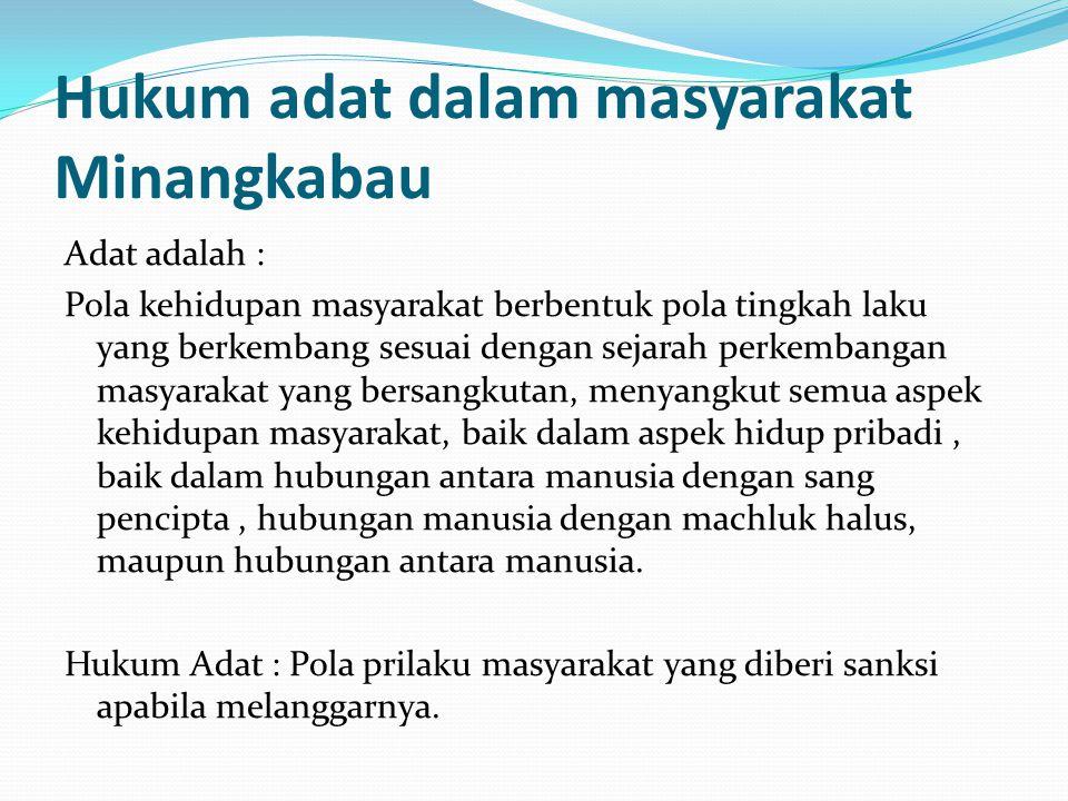 Hukum adat dalam masyarakat Minangkabau