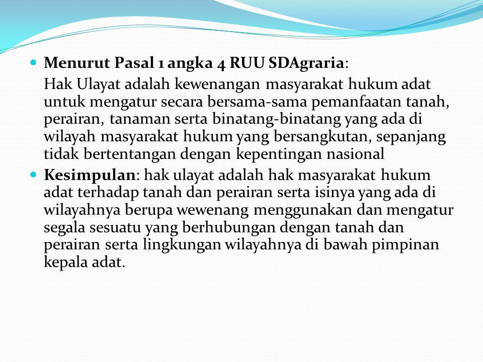Menurut Pasal 1 angka 4 RUU SDAgraria: