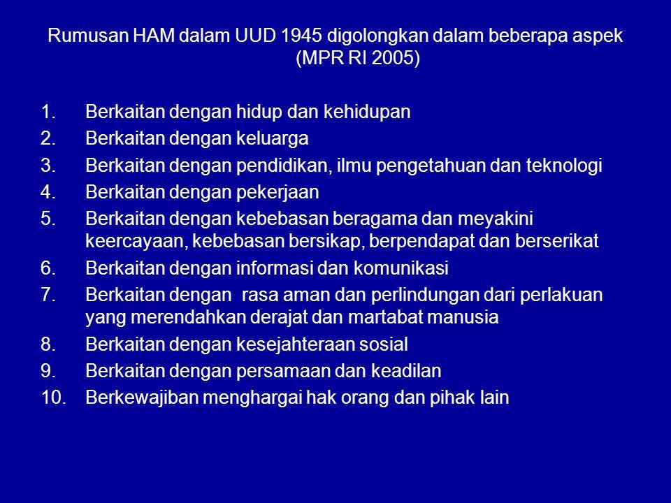 Rumusan HAM dalam UUD 1945 digolongkan dalam beberapa aspek (MPR RI 2005)