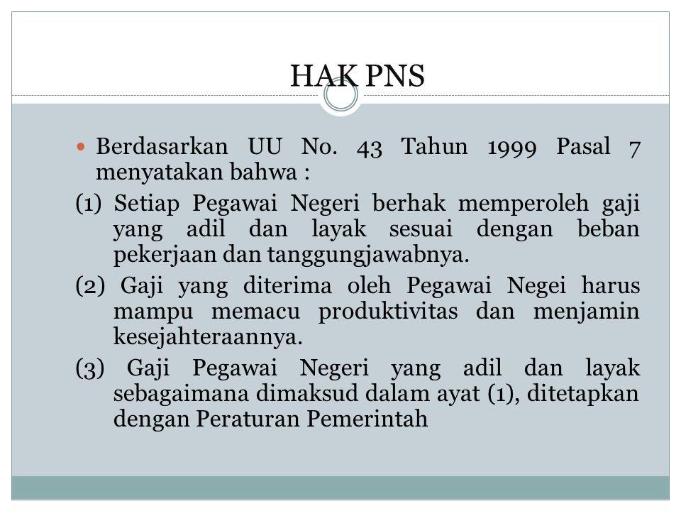 HAK PNS Berdasarkan UU No. 43 Tahun 1999 Pasal 7 menyatakan bahwa :