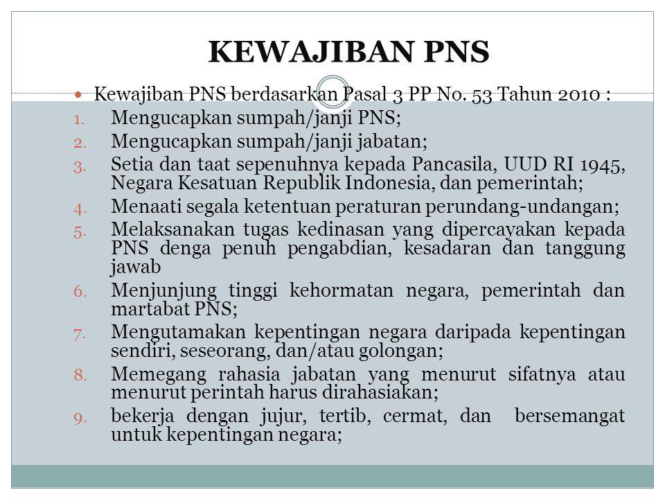 KEWAJIBAN PNS Kewajiban PNS berdasarkan Pasal 3 PP No. 53 Tahun 2010 :