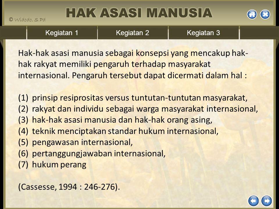 Hak-hak asasi manusia sebagai konsepsi yang mencakup hak-hak rakyat memiliki pengaruh terhadap masyarakat internasional. Pengaruh tersebut dapat dicermati dalam hal :