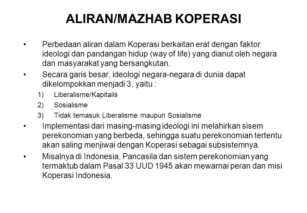 ALIRAN/MAZHAB KOPERASI