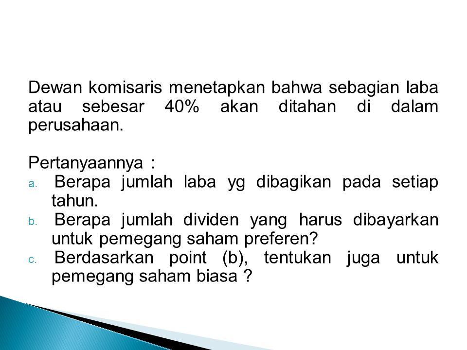 Dewan komisaris menetapkan bahwa sebagian laba atau sebesar 40% akan ditahan di dalam perusahaan.