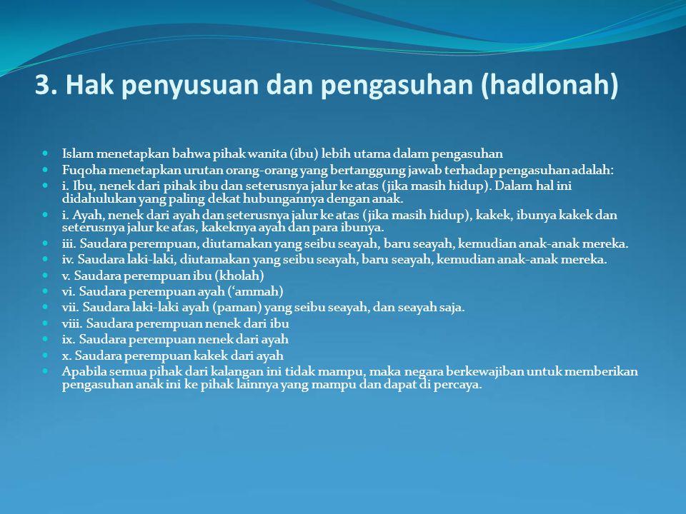 3. Hak penyusuan dan pengasuhan (hadlonah)